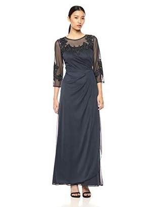 Alex Evenings Women's Long A-Line Dress with Sleeves (Petite and Regular Sizes),P