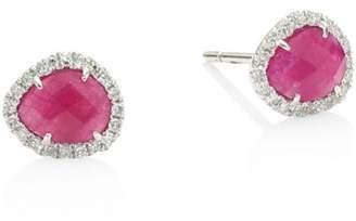 Meira T Diamond & Ruby Stud Earrings