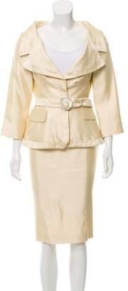 Alexander McQueen Silk Patterned Skirt Suit Yellow Silk Patterned Skirt Suit
