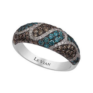 LeVian CORP Grand Sample Sale by Le Vian 1 CT. T.W Vanilla Diamonds, Iced Blueberry Diamonds & Chocolate Diamonds in 14k Vanilla Gold Exotics Ring