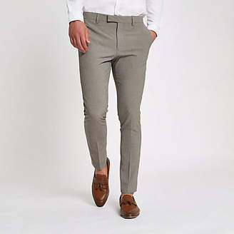 River Island Mens Ecru pupstooth super skinny fit suit trousers