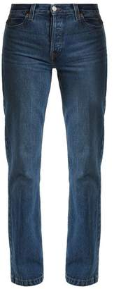 Re/done originals Re/done Originals - High Rise Straight Leg Jeans - Womens - Mid Blue