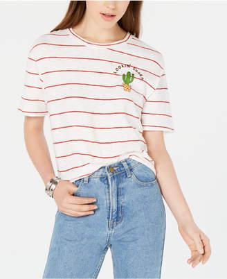 Rebellious One Juniors' Cactus Striped T-Shirt