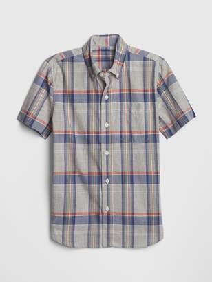 Gap Kids Plaid Poplin Short Sleeve Shirt