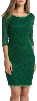 ACEVOG Women Ladies Package Hip Knee Length Floral Lace Pencil Party Dress