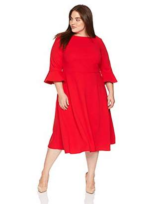 Donna Morgan Women's Plus Size Midi-Length Fit and Flare Crepe Dress