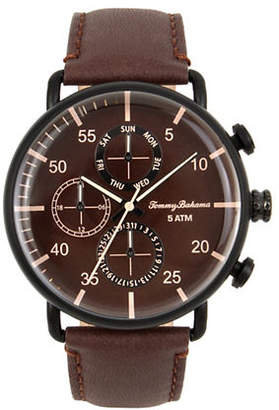 Tommy Bahama Stainless Steel Brown Leather Strap Multi-Function Watch