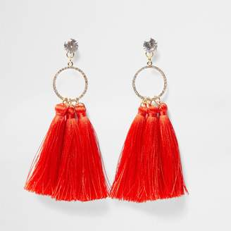 River Island Womens Red tassel diamante pave circle earrings