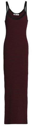 McQ Striped Ribbed-Knit Maxi Dress