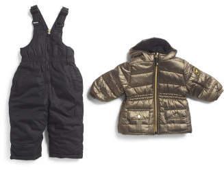 Little Girls 2pc Metallic Snowsuit With Bib