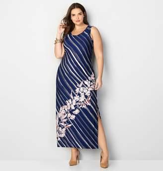 Avenue Diagonal Stripe Floral Maxi Dress