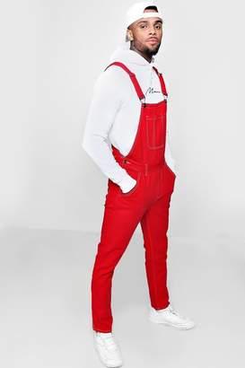 boohoo Skinny Fit Red Denim Dungarees