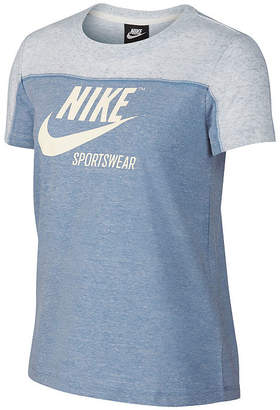 Nike Gym Vntg Ss Colorblock Tee-Womens Crew Neck Short Sleeve T-Shirt