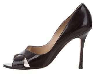 Manolo Blahnik Patent Leather Peep-Toe Pumps