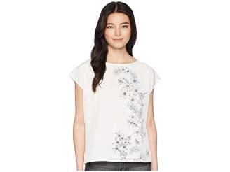 Vince Camuto Specialty Size Petite Extend Shoulder Botanical Floral Print Blouse Women's Blouse