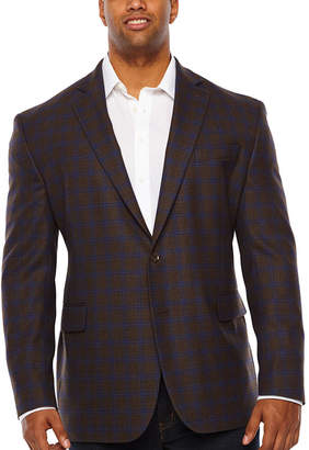STAFFORD Stafford Merino Wool Stretch Brown Blue Checked Classic Fit Sport Coat - Big and Tall