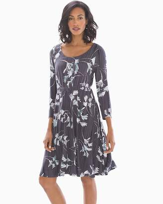 Soft Jersey Drawcord Waist Short Dress Modern Brush Floral Gray