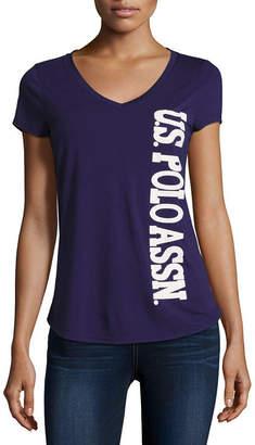 U.S. Polo Assn. Short Sleeve V Neck T-Shirt-Womens