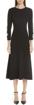 Oscar de la Renta Imitation Pearl Embellished Stretch Wool Crepe Dress