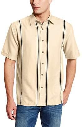 Cubavera Men's Short Sleeve Point-Collar L-Shape Embroidered Shirt