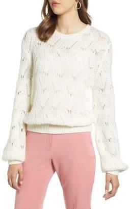 Halogen Pointelle Balloon Sleeve Sweater