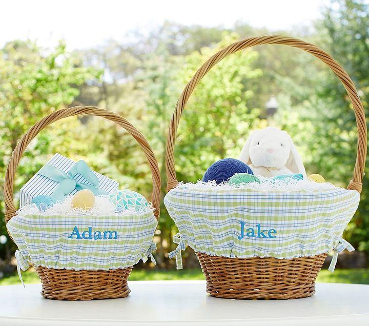 Pottery Barn Kids Blue/Green Plaid Easter Basket Liners
