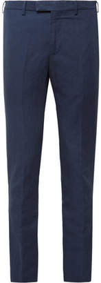 Privee SALLE Navy Gehry Slim-Fit Cotton And Linen-Blend Suit Trousers