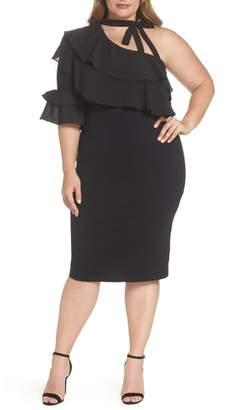 LOST INK One-Shoulder Ruffle Dress