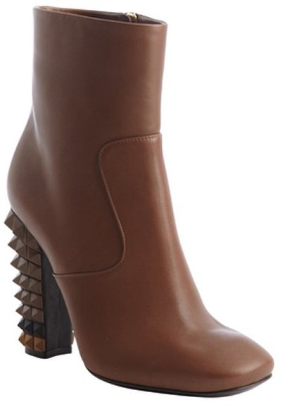 Fendi brown leather studded heel side zip ankle boots
