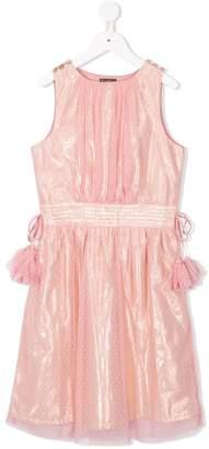 Velveteen dot mesh sleeveless party dress