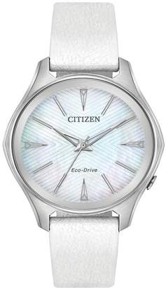 Citizen Women's Eco-Drive Silver Dial White Leather Strap, 36mm