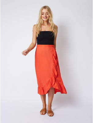e3d1956304 George Burnt Orange Woven Ruffle Wrap Style Midi Skirt
