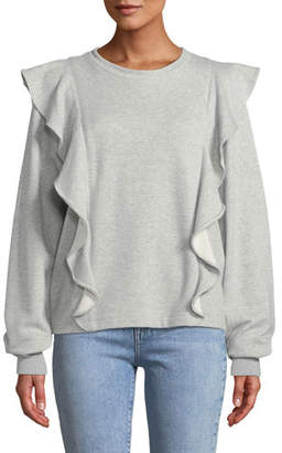 A.L.C. Keller Ruffle Crewneck Pullover Sweatshirt