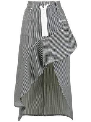 Off-White striped asymmetric skirt