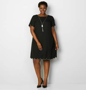 Avenue Scallop Trim Dress