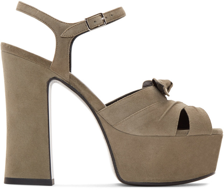 Saint Laurent Taupe Suede Candy Bow Sandals