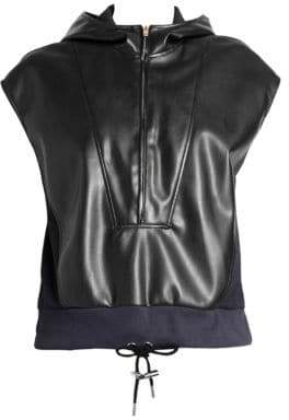 Cédric Charlier Sleeveless Hooded Faux-Leather Sweatshirt