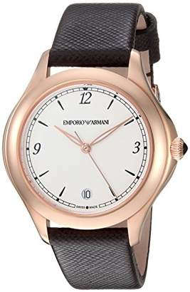 Emporio Armani Swiss Made Women's 'Esedra' Quartz Stainless Steel and Leather Casual Watch