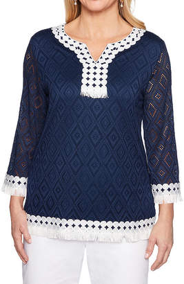Alfred Dunner Smooth Sailing Womens 3/4 Sleeve Crochet Top