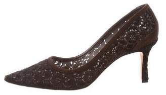 Manolo Blahnik Ponyhair Embroidered Pumps