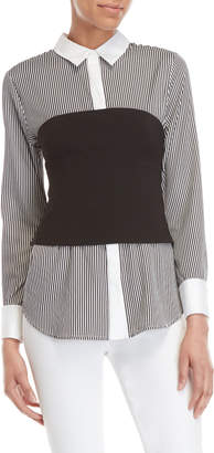 KENDALL + KYLIE Striped Bustier Shirt
