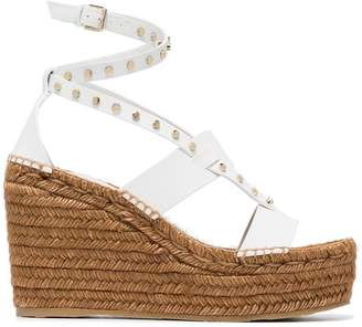 Jimmy Choo White Danica 110 Wedge Leather Sandals