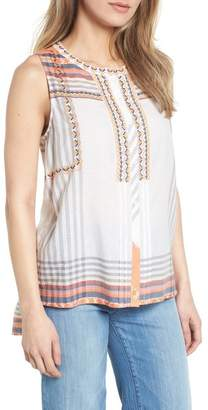Caslon Embroidered Cotton Sleeveless Blouse (Petite)