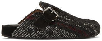 Isabel Marant Black Wooly Striped Mirvin Slipper