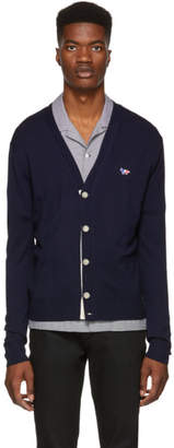 MAISON KITSUNÉ Navy Tricolor Fox Patch Cardigan