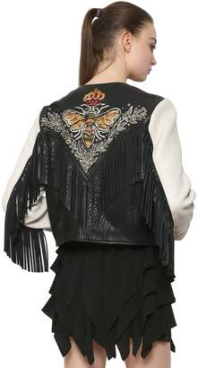 Etoile Isabel Marant Embroidered Leather Jacket With Fringe