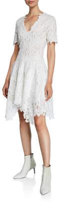 Jonathan Simkhai V-Neck Threaded Lace Ruffle Dress