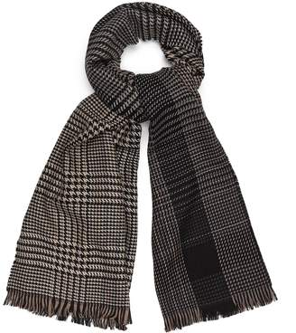 Reiss Holmfield - Wool Checked Scarf in Natural