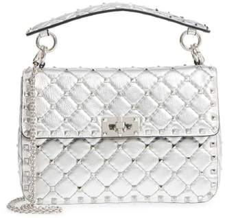 Valentino Medium Rockstud Spike Metallic Leather Shoulder Bag