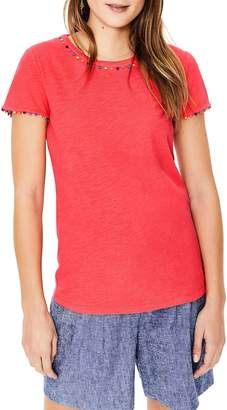 Boden Charlie Embroidery Trim Crewneck Tee